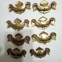 Vintage Brass Bronze Drawer Pulls Handles Set of 8 (6 large and 2 small).