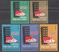 POLAND 1965 Matchbox Label - Cat.Z#620 set, ORMO protects your life and property