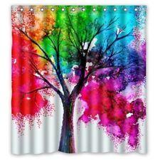 Vibrant Watercolor Paint Fall / Autumn Tree Bathroom Shower Curtain - Blue Green