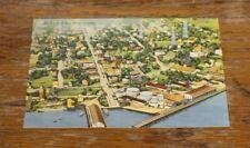 Antique Postcard Linen Air View of Key West Florida City Town Vintage Sky  #88