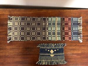 "Hand Woven Table Runner 7"" x 21"" & Mug Rug 4"" x 7""- Multi-Color Wool - Squares"
