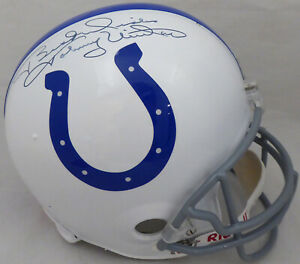 "Johnny Unitas Autographed Colts Full Size Helmet ""Best Wishes"" Beckett AA01305"
