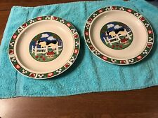 Gibson Barnyard Dinner Plate (2) Cow, Fence, Heart, Apples & Checked Rim Lot#200