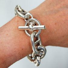 BR128 Très gros Bracelet Design Maillon Chaîne d'Ancre Argent Massif 925 - 130gr