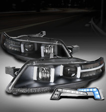 FOR 04-08 ACURA TL LED TUBE PROJECTOR BLACK HEADLIGHTS LAMPS W/BLUE DRL SIGNAL