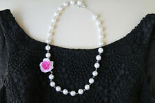 rose flower necklace,handmade airdry polymer clay lifelike rose,lightweight