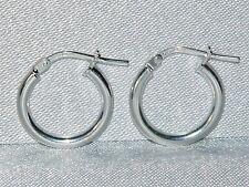 STERLING SILVER (925) LADIES PLAIN HOOP CREOLE EARRINGS (SE0502)