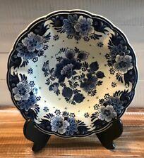 """VINTAGE Delft Koninklijke Porcelain 9.75"""" Wall Hanging Plate Blue White Flowers"""
