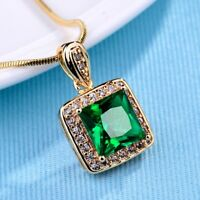 Promise Women Princess Green Emerald Crystal Silver/Gold Pendants Chain Necklace