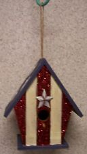 Bird House Patriotic Stars and Stripes NEW Red White Blue wood with sparkles