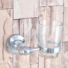 Polished Chrome Wall Mount Toothbrush Holder Bathroom Accessories with Glass Cup