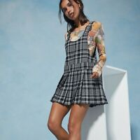 Anna Sui Urban Outfitters Plaid Mini Shift Pleated Dress Black Size Medium NWT