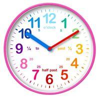 Acctim Wickford Kids Children Time Teaching Wall Clock - 20cm - Pink