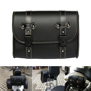 Motorcycle Sissy Bar Bag Side Tail Luggage Tool Saddlebags PU Leather For Harley