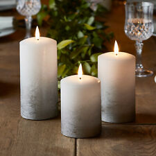 Set of 3 Battery LED Flameless Grey Ombre Pillar Candles TruGlow™Timer Light4fun