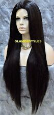 Long Straight Layered Jet Black Full Synthetic Wig Hair Piece Heat Ok #1