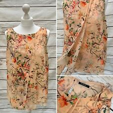 Roman Peach Floral Sleeveless Chiffon Layering Blouse Top 12 UK