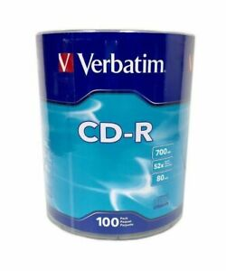 100-Pack Verbatim Brand Blank Logo CD-R CDR Disc Media 52X 80 Min 700MB