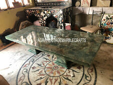 7'x3' Green Marble Fluorite Dining Top Table With Stand Handmade Decor E435