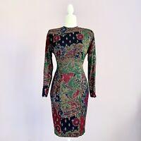 Vintage 80s Janine Paris Size XS Metallic Mosaic Colorful Abstract Dress London