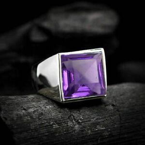 4Ct Princess Cut Purple Amethyst Gemstone Mens Ring In 14K White Gold Finish