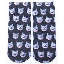 Fashion Cartoon Cat Footprints Soft Socks Women Girl Starry Night  stripe Socks