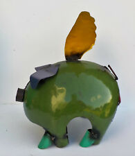 "METAL ART FLYING PIG SCULPTURE ANIMAL FIGURE 12"""