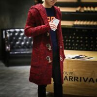 Mens Warm Slim Fit Hooded Knit Sweater Fashion Cardigan Trench Long Coat Jackets