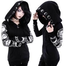 Women's Black Gothic Punk Hooded Hoodies Jacket Coat Long Sleeve Sweater Cosplay