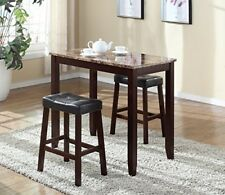 Marble Breakfast Table Set with Tufted Leather Stools Sturdy Apartment Kitchen