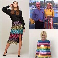 BNWT Miss Selfridge PREMIUM Ombre Sequin Rainbow Midi Skirt 12 £65