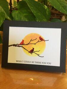 Cardinal Sympathies: handmade greeting card
