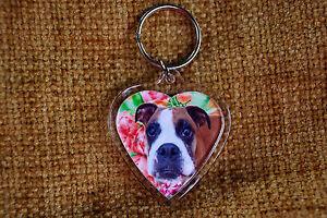 Boxer Dog Keyring Dog Key Ring heart gift Birthday Gift Xmas Mothers Day Gift