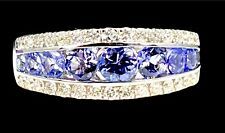 EFFY SOLID 14K WHITE GOLD 1.54 TCW NATURAL TANZANITE & DIAMOND ROYALE RING SZ 6