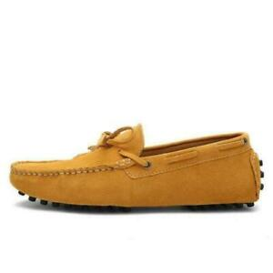 Suede Leather Mens Slip on Loafer Shoes Moccasin Casual Boat Driving Flat Casual