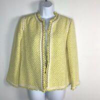 Zara TRF Collection Womens Blazer Sz S Yellow Tweed Open Front Suit Jacket RV44