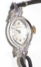 Gold+12 Diamond Watch w/Black Cord Working Vtg Croton Ladies 14K Solid White