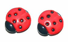 HOT PINK or RED LADYBUG STUD or CLIP ON EARRINGS
