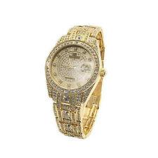 Peire Bernie G3777 Mens Swarovski Crystal Stone Studded Jewelry Watch: GOLD