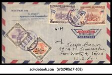 HONDURAS - 1963 AIR MAIL ENVELOPE to USA with OFFICIAL Stamps (ID:B235)