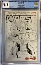 SECRET WARS #1 INFINITY & BEYOND B&W EXCLUSIVE SKETCH COVER BY GREG LAND CGC 9.8