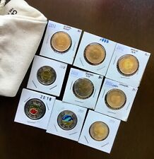 Pair of Colored /& Non Colored BU From roll 2017 CANADA 150th  Toonies -No Tax