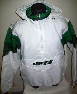 NEW YORK JETS Starter Hooded Half Zip Pullover Jacket  XL 2X WHITE