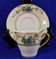 Antique LENOX Hand Painted Floral Ivory 24k Gold Trim Demitasse Cup & Saucer Set