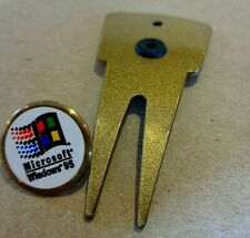 MICROSOFT WINDOWS 98 GOLF BALL MARKER WITH DIVOT TOOL Golfing