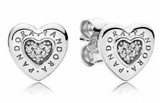 Genuine PANDORA Sterling Silver Logo Heart Stud Earrings S925 ALE