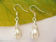925 Sterling Silver AAA Real Cultured Freshwater Pearl Tear Drop Earrings Gift