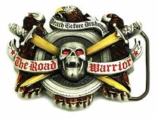 Biker Belt Buckle Skull & Eagle Road Warrior Authentic Great American Products
