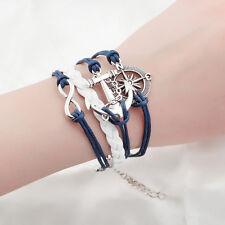 POP Damen Herren Vintage Leder Armband Wickelarmband Armschmuck Lederkette Anker