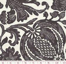 P Kaufmann Batik Noir Black White Floral Print Upholstery Fabric BTY